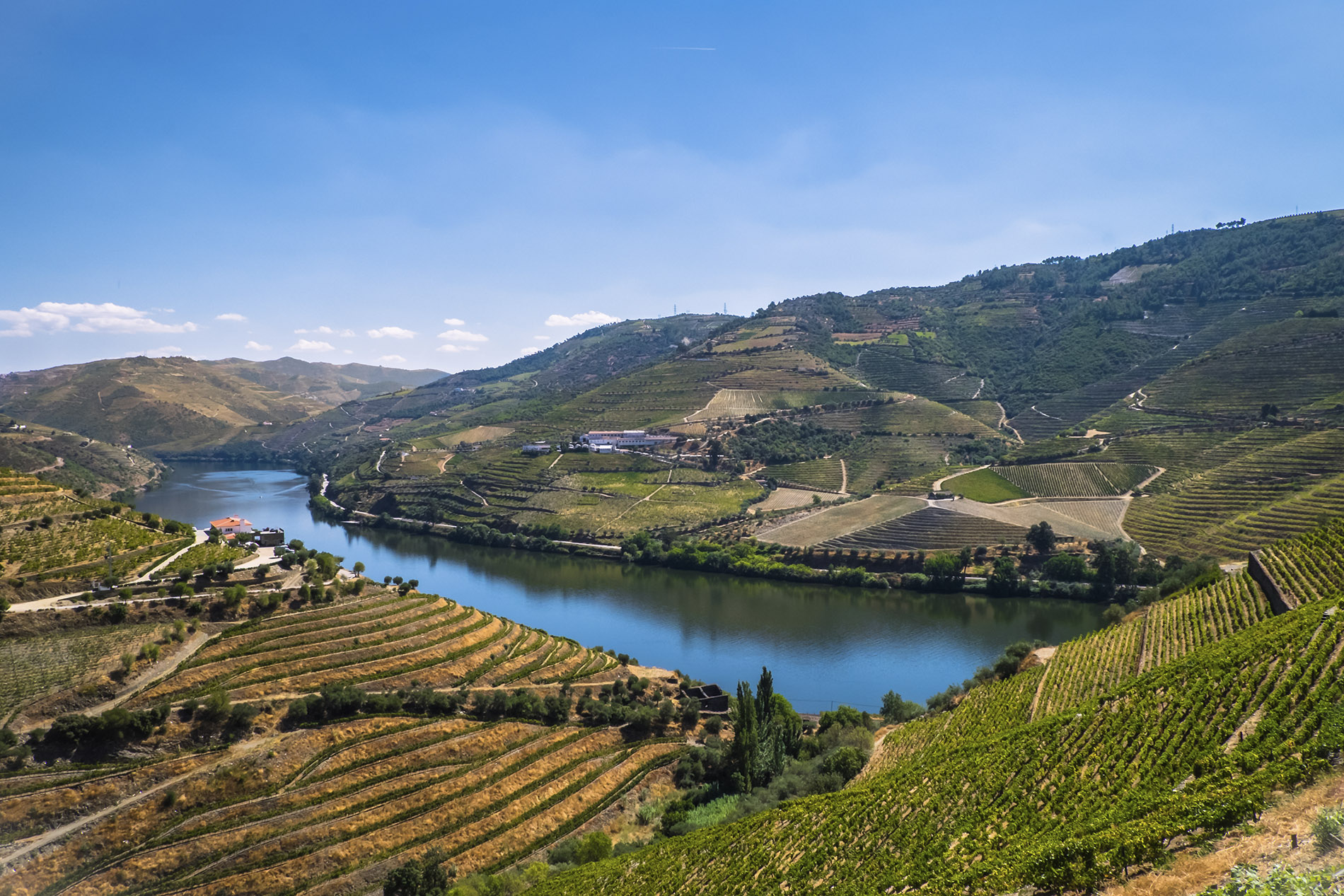 a large body of water with Douro in the background
