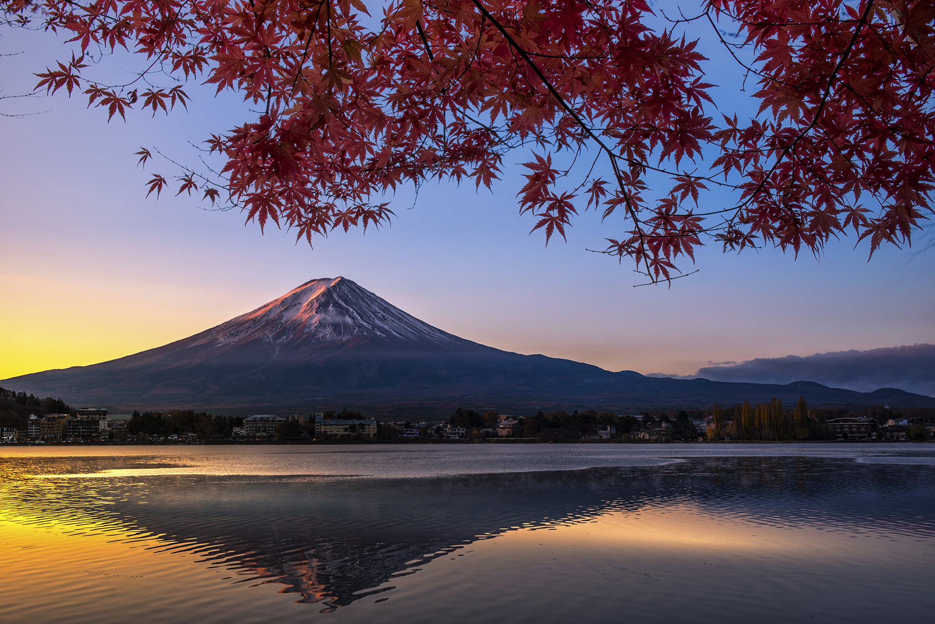 a large body of water surrounded by trees with Mount Fuji in the background