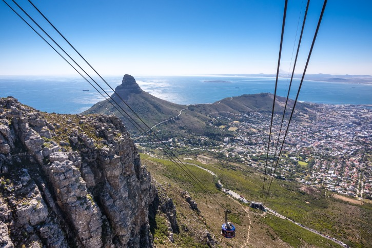 Cable car down table mountain