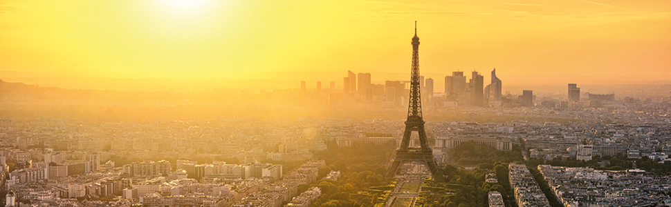 The Eiffel Tower as the sunsets over Paris