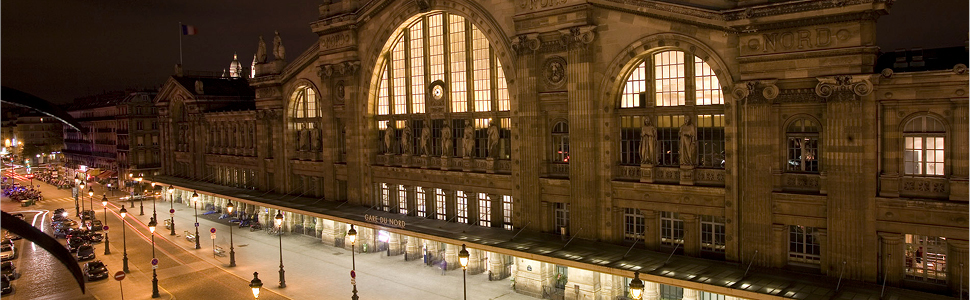 Gare du Nord, Paris lit up at night